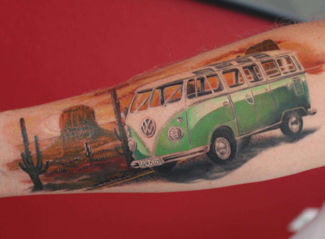 T1 Bully VW Bus Tattoo Ink